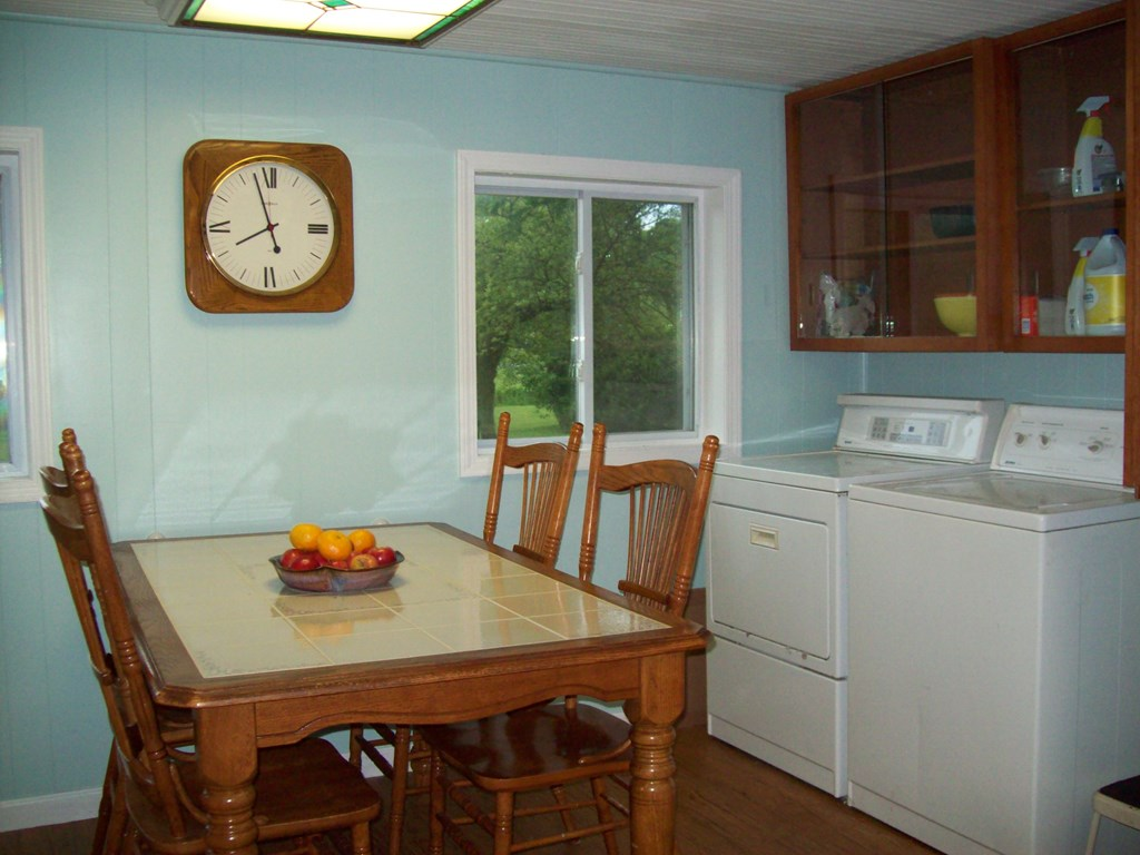 breakfast nook and laundry